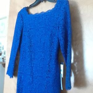 💃ADRIANA  PAPELL blue scalloped hem dress👛